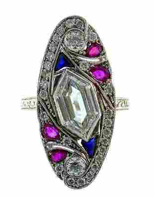 18k White Gold Diamond Ruby Sapphire Ring