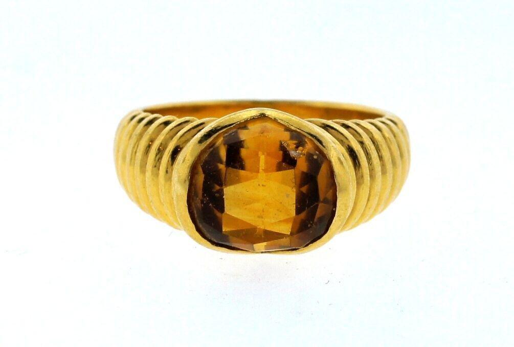 LOVELY Bulgari 18k Yellow Gold & Citrine Ring Circa