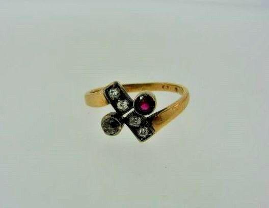WOW European Edwardian Silver, 14k Yellow Gold, Ruby &