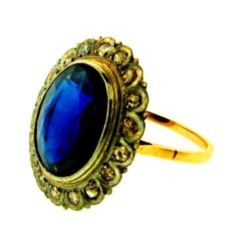 STUNNING Victorian 14k Yellow Gold, Platinum Diamond &