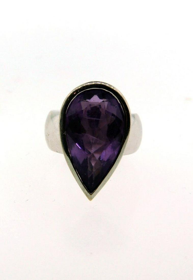NICE 14k White Gold & Pear Shaped Amethyst Ring