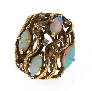 WOW 14k Yellow Gold, Diamond & Opal Ring Circa 1960!