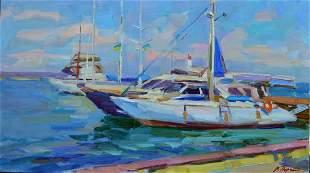 Oil painting Near the pier Tepeta Miacheslav