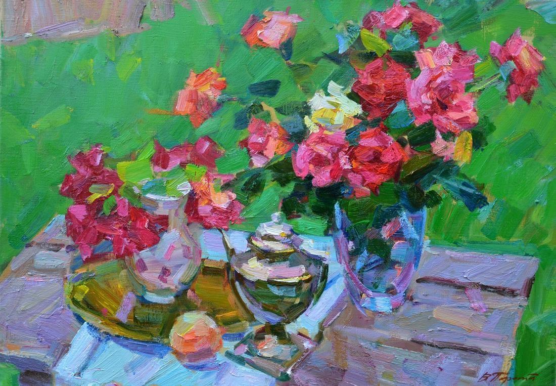 Oil painting Pink roses Tepeta Miacheslav
