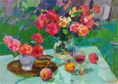 Oil painting Roses and peaches Tepeta Miacheslav