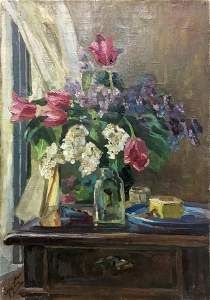 Oil painting Tulips and lilacs Adalbert Mikhailovich
