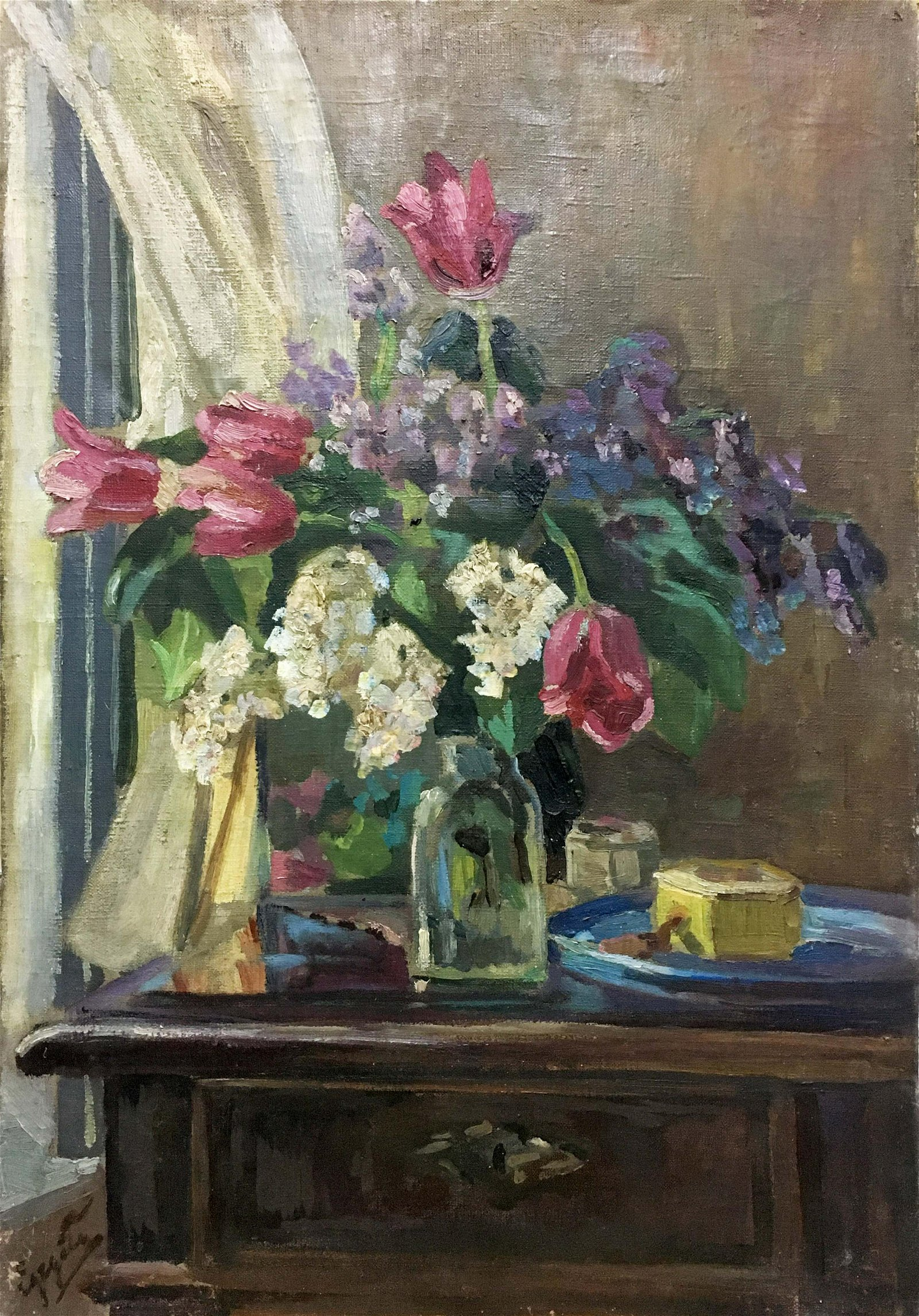 Oil painting Tulips and lilacs Adalbert Mikhailovich
