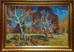 Oil painting Forest landscape Mynka Alexander