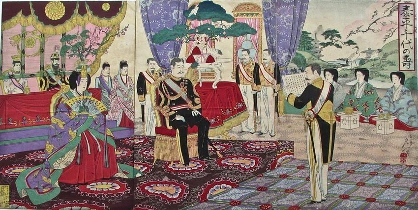 Artist: NOBUKAZU Subject: Emperor and Empress