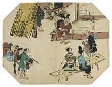 Title: Tea-house in the countryside- an octogonal fan
