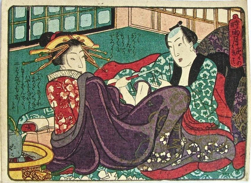 Artist: Utagawa school Subject: Shunga. Signature: