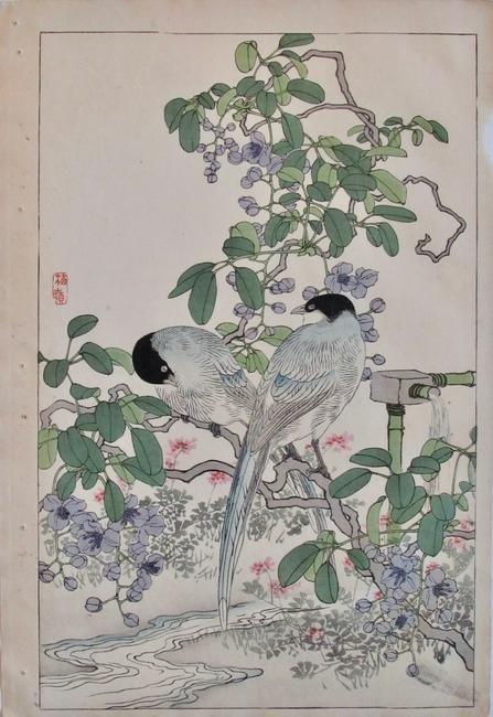 Artist: Kono BAIREI Subject: Blue birds and Wisteria