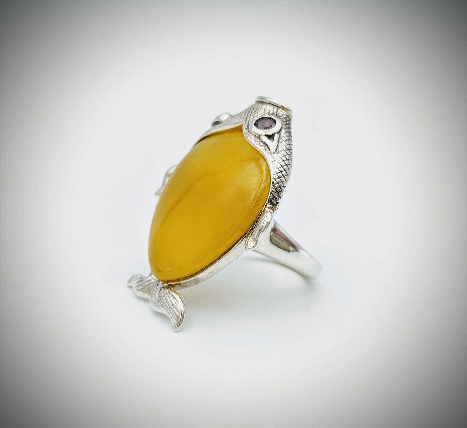 925 SS Fish Designed Sz 7 Ring w Yellow Jade Amethyst