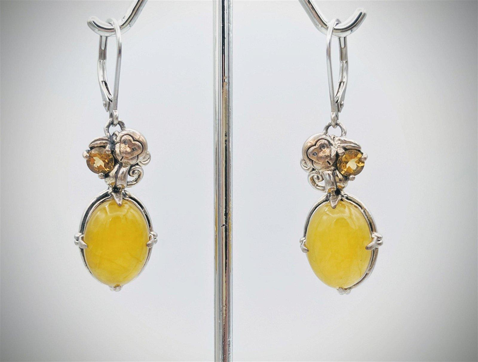 925 SS Monkey Designed Earrings w Yellow Jade & Golden