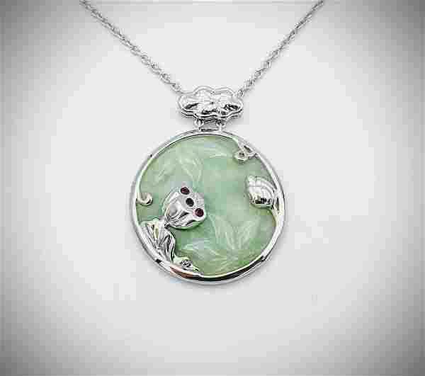 925 SS Necklace Engraved Jade Pendant w Raw Rubies