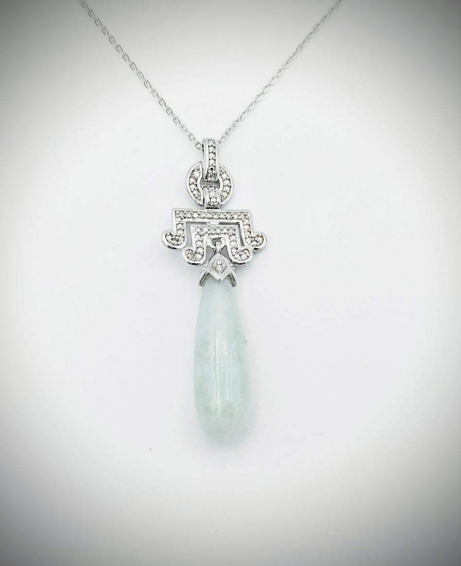925 SS Necklace & Jade Drop Pendant w Diamonds