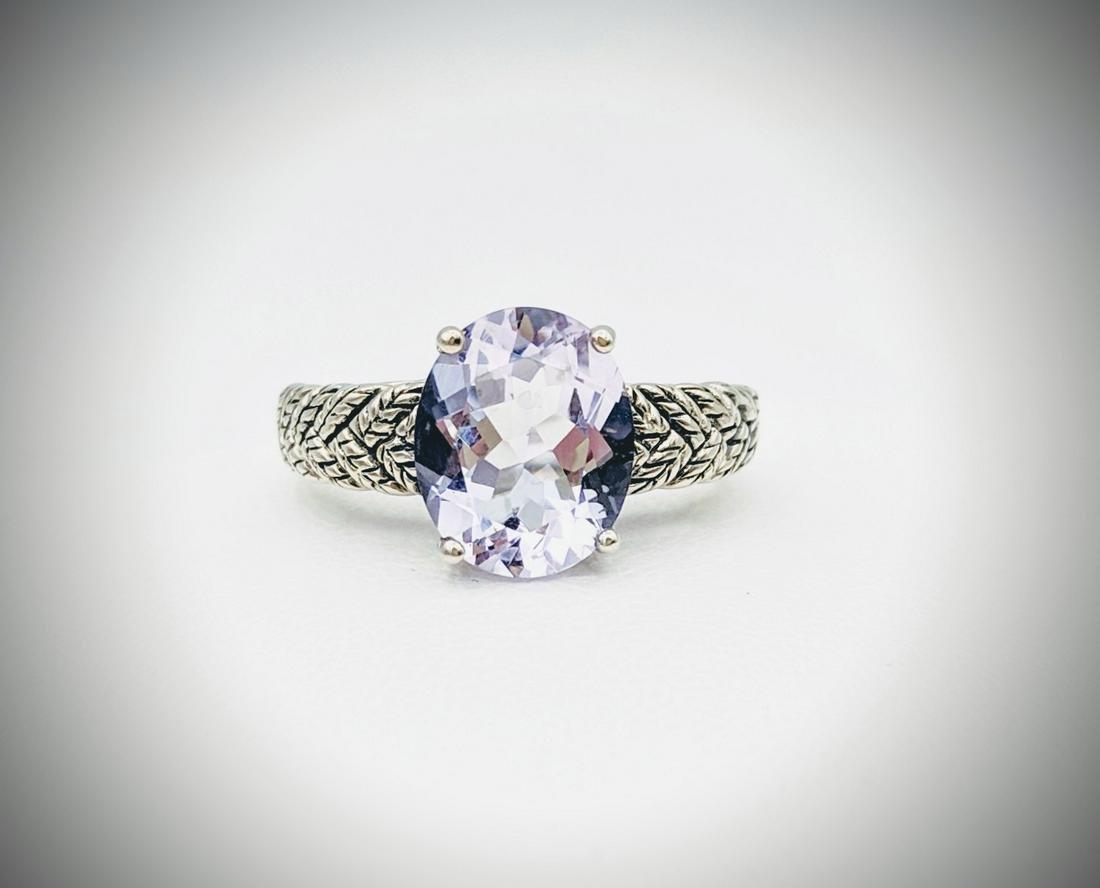 925 SS Sz 7 Leaf Designed Ring w Pale Purple Amethyst