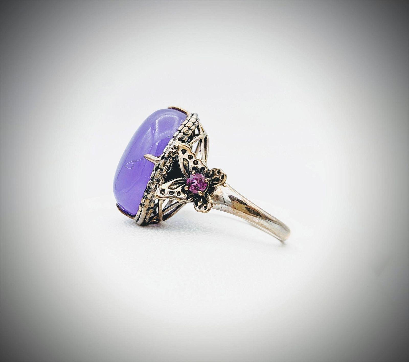 925 SS Sz 7 Oval Violet Jade Ring w Amethyst &
