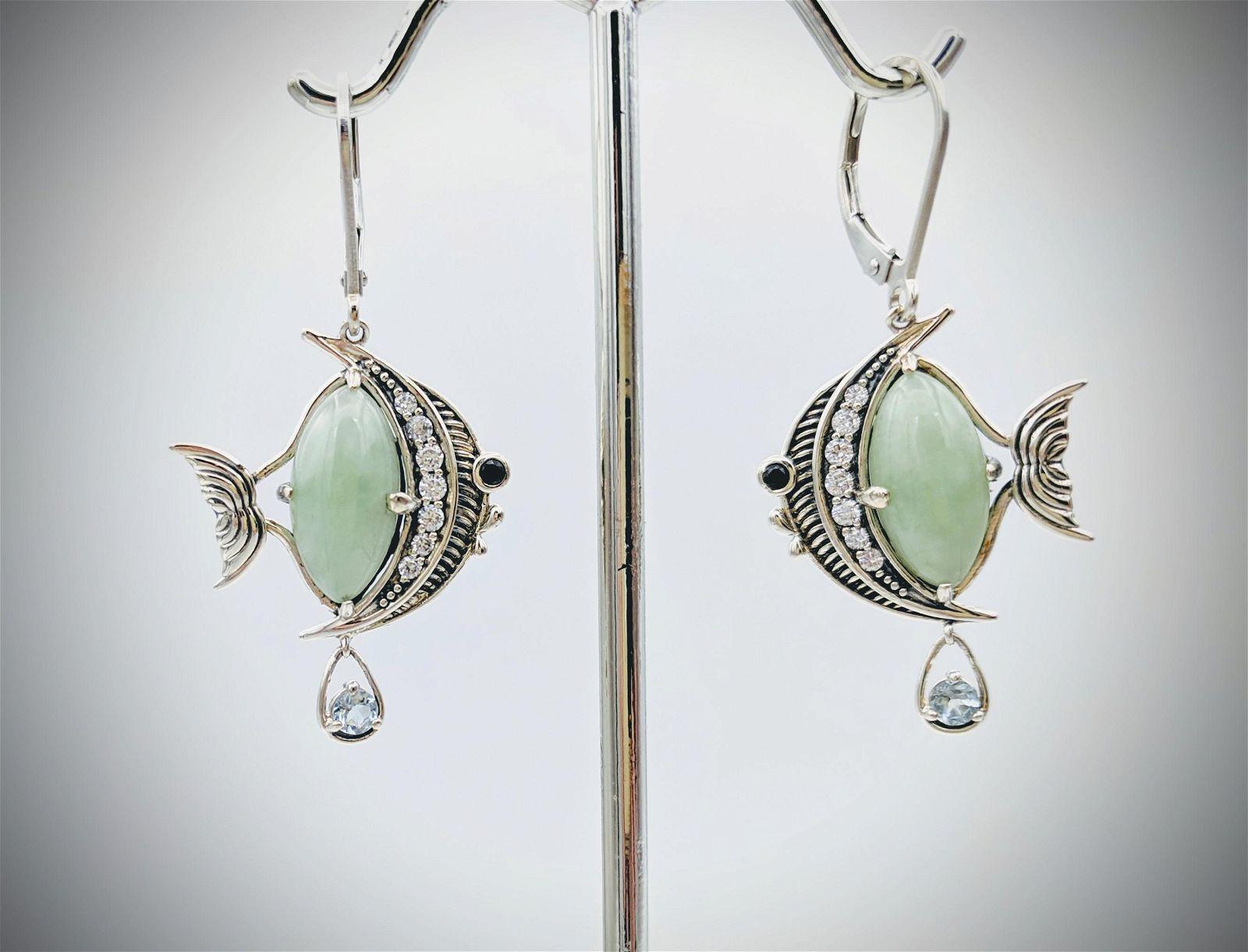 Angel Fish Designed Earrings w Jade, Aquamarine,