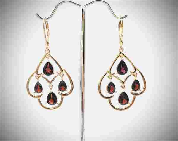 Baroque Style Red Garnet Earrings
