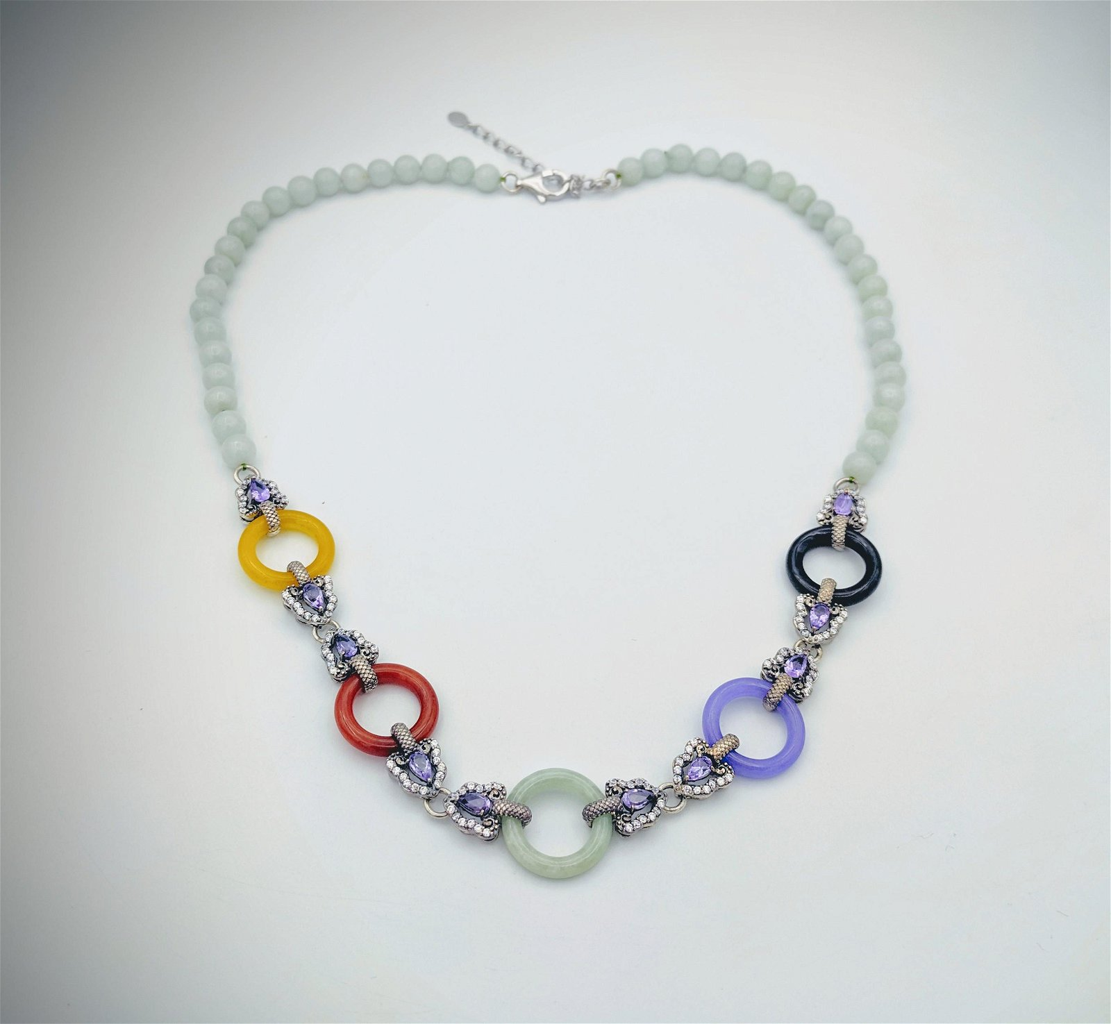 Beaded Jade Necklace w Multicolored Jade's, Amethyst &