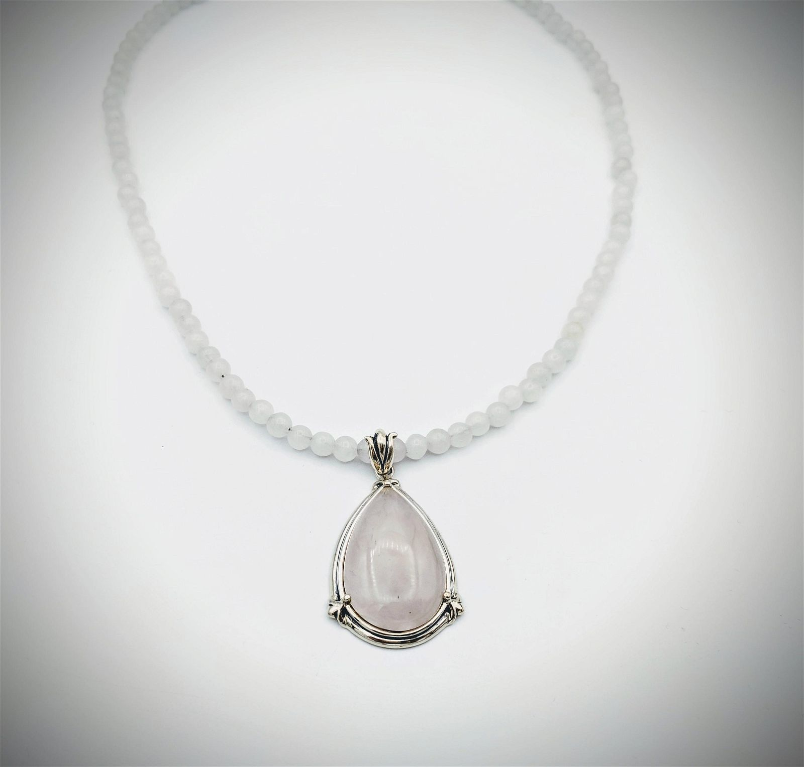 Beaded White Onyx Necklace w Rose Quartz Pendant