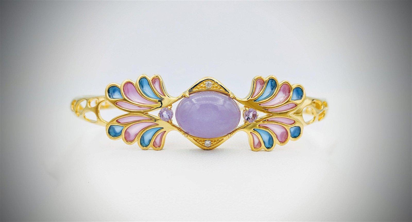 Bracelet w Violet Jade, Pale Amethyst, CZ, Pink and