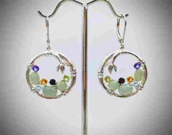 Dangly Earrings w Jade, Garnet, Citrine, Blue Topaz,