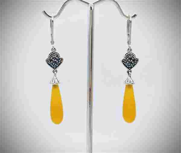 Dangly Yellow Jade Drop Earrings w Melanite