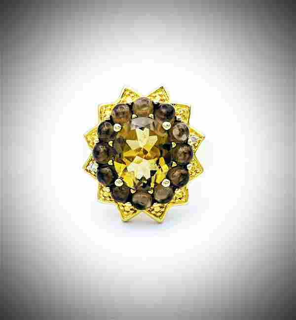 Diamond, Citrine and Moonstone Sz 7 Ring