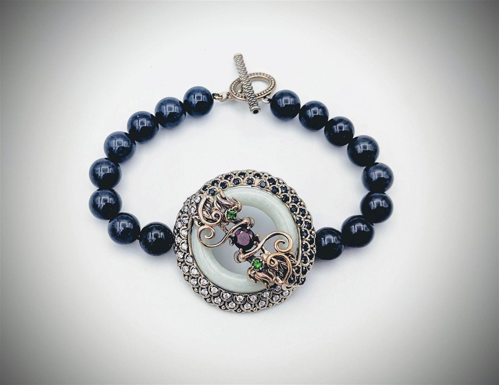 Dragon Bracelet w Nuumite Beads, Black Onyx, CZs,