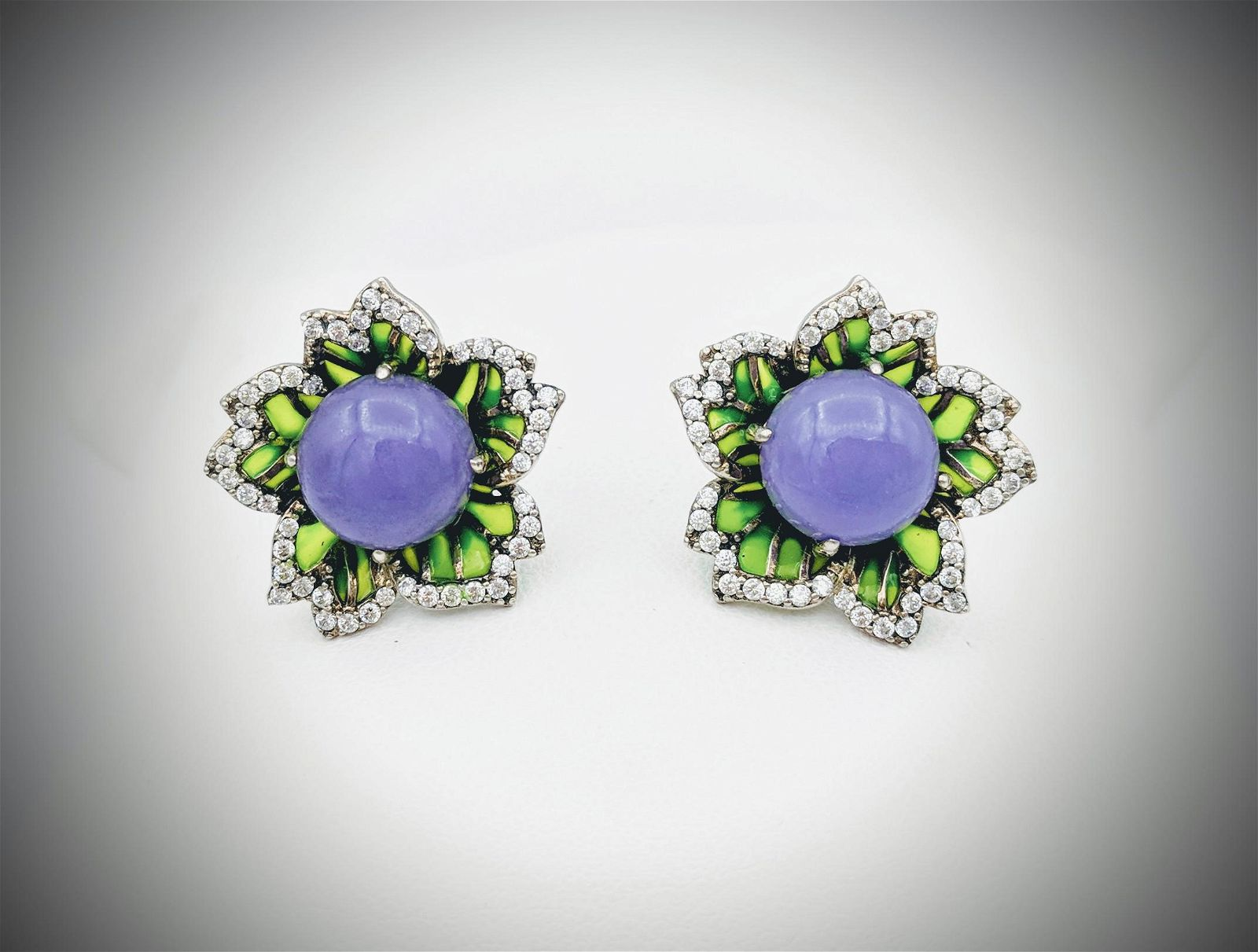 Flowering Violet Jade Earrings w CZs and Green