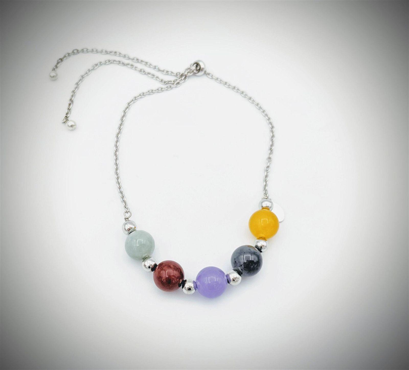 Multicolored Beaded Jade Bracelet w Jasper, Nuumite and