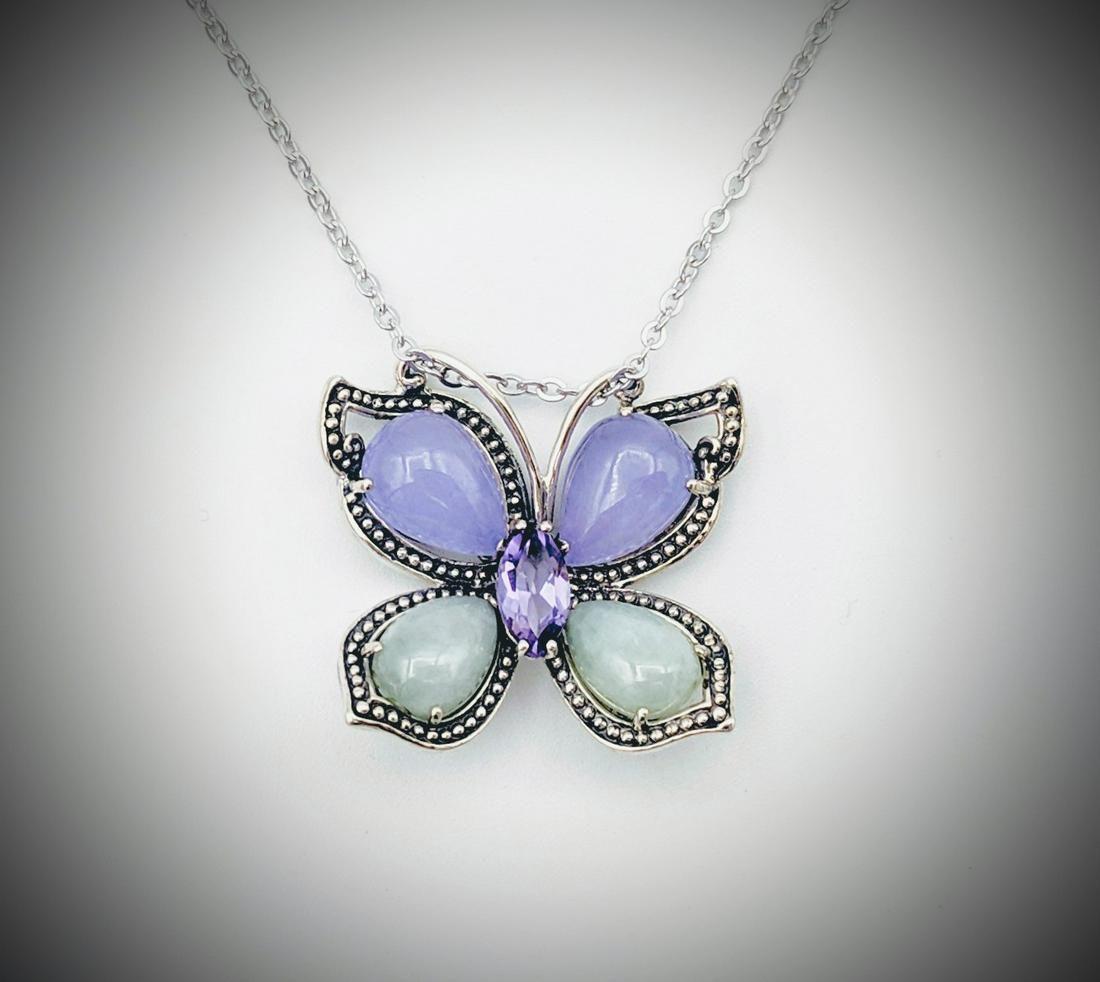 Necklace & Butterfly Pendant w Violet Jade, Jade &