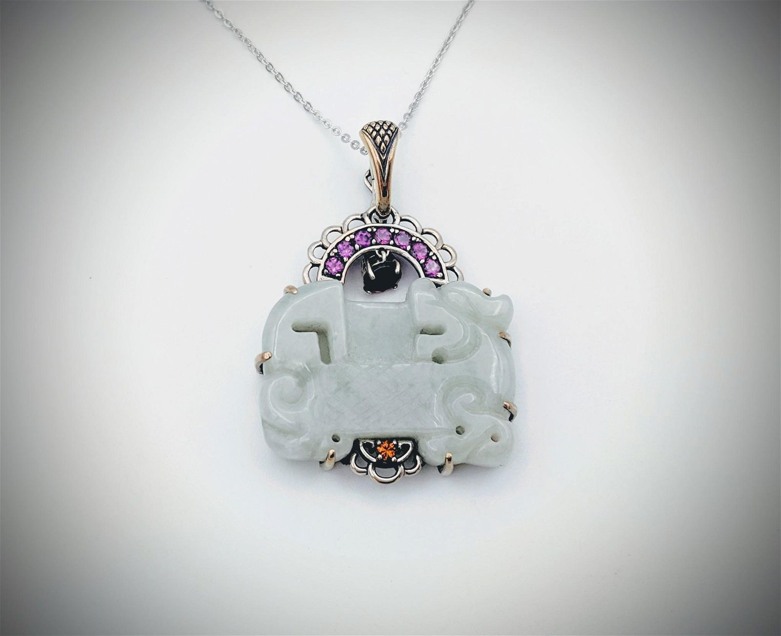 Necklace & Jade Engraved Pendant w Pink Amethyst, Red