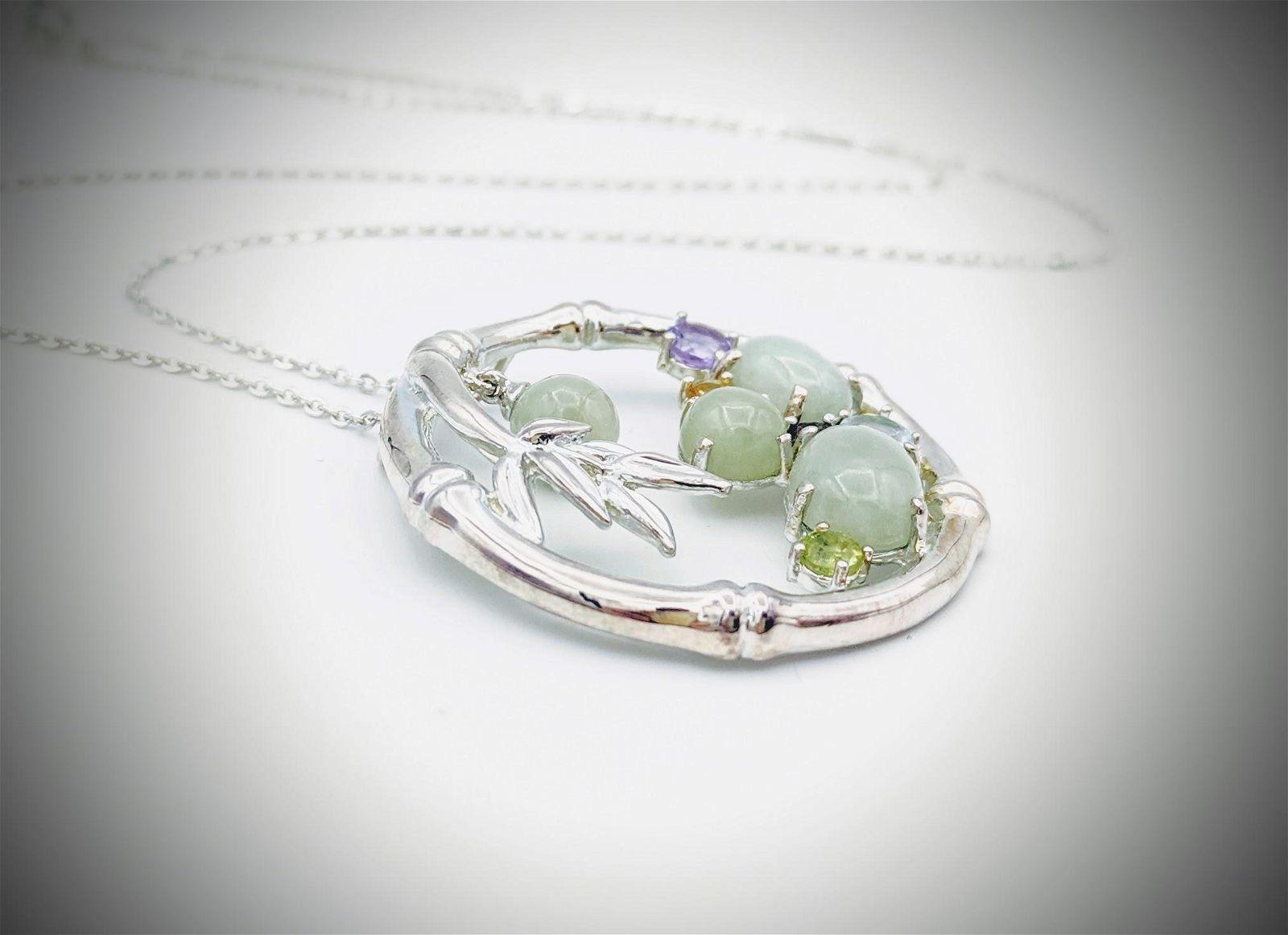 Necklace & Pendant w Jade, Blue Topaz, Amethyst,
