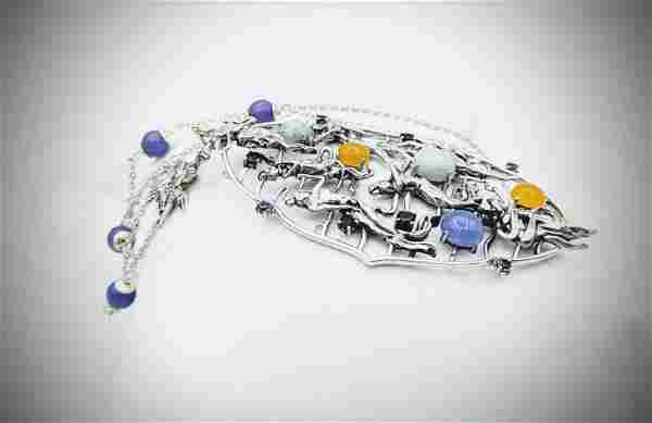 Necklace & Tree of Life Pendant w Jade, Violet Jade,