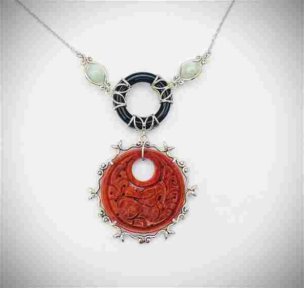 Necklace and Engraved Jasper Pendant w Jade and Black