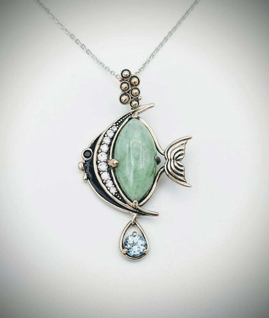 Sterling Silver Necklace & Angel Fish Pendant w Jade,