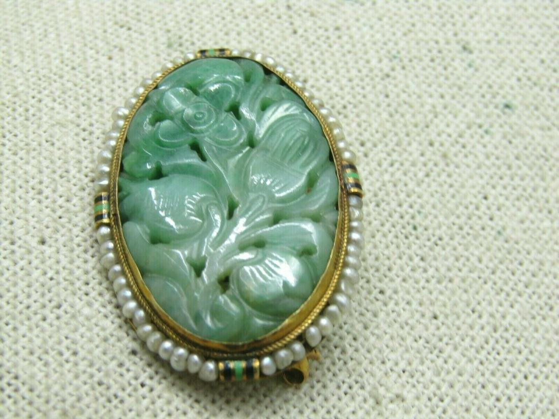 Antique 14kt Carved Jade Brooch, Seed Pearls, Enameled