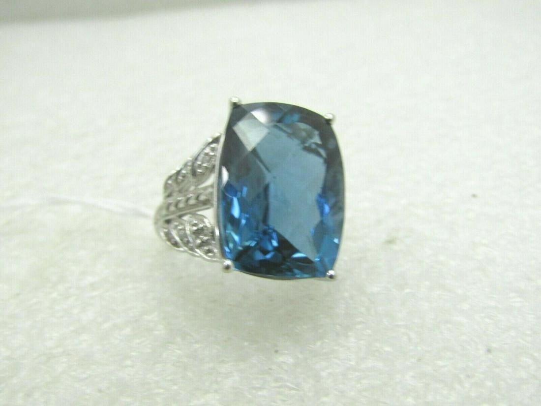 Vintage 14kt London Blue Topaz Ring, Sz. 6, Statement