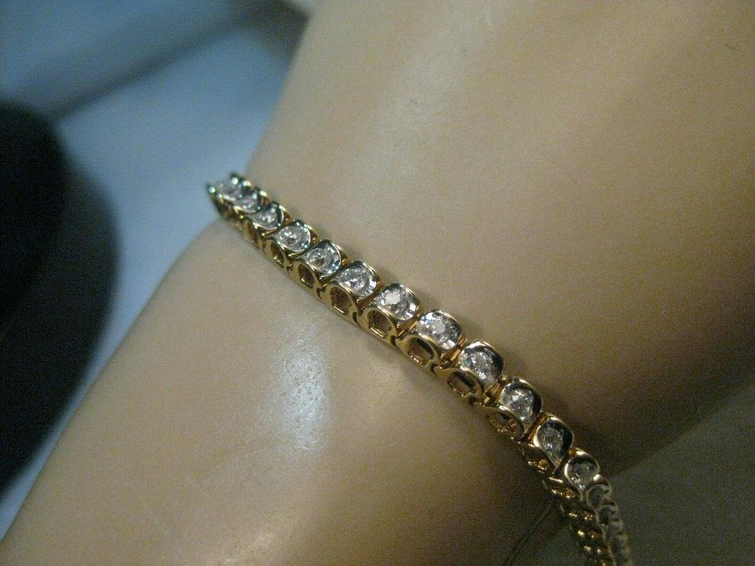 "14kt Gold Diamond Tennis Bracelet, 48 diamonds, 7.25"","