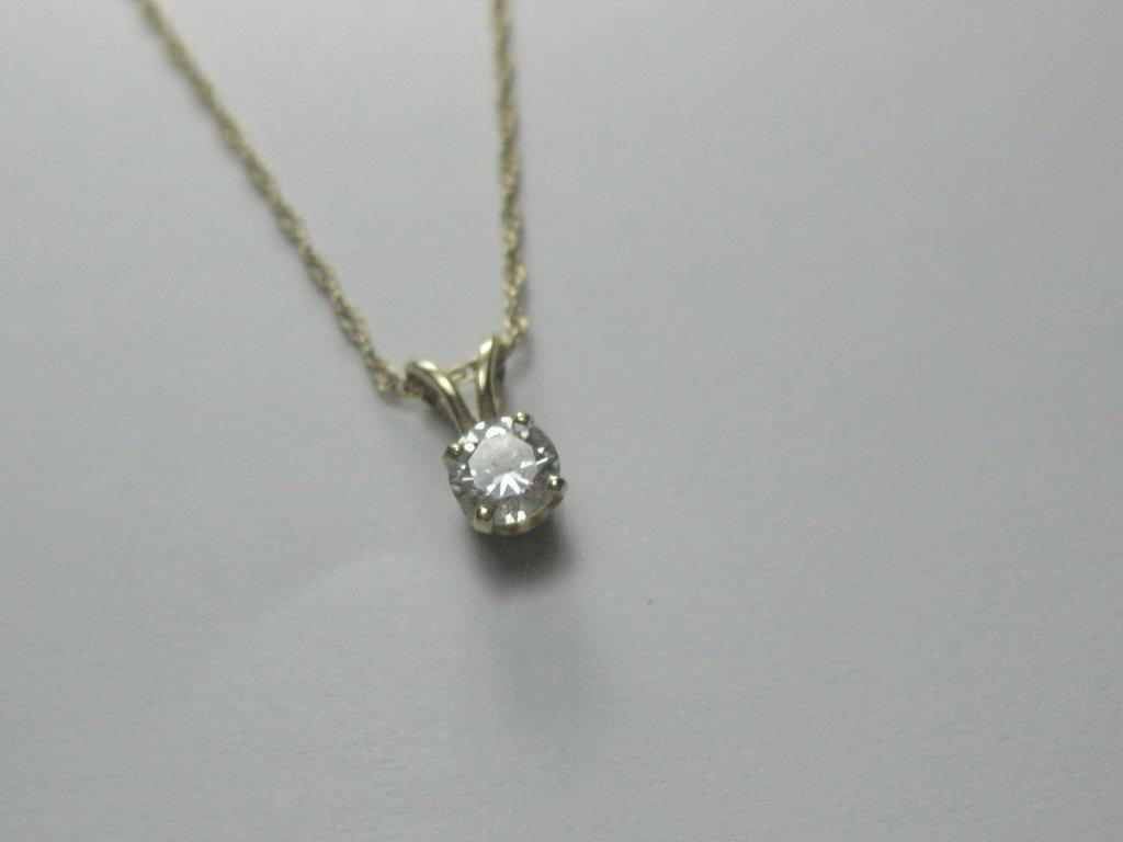 """14kt Diamond Solitaire Necklace, .33 ctw, 15"""", 1.12 gr."""