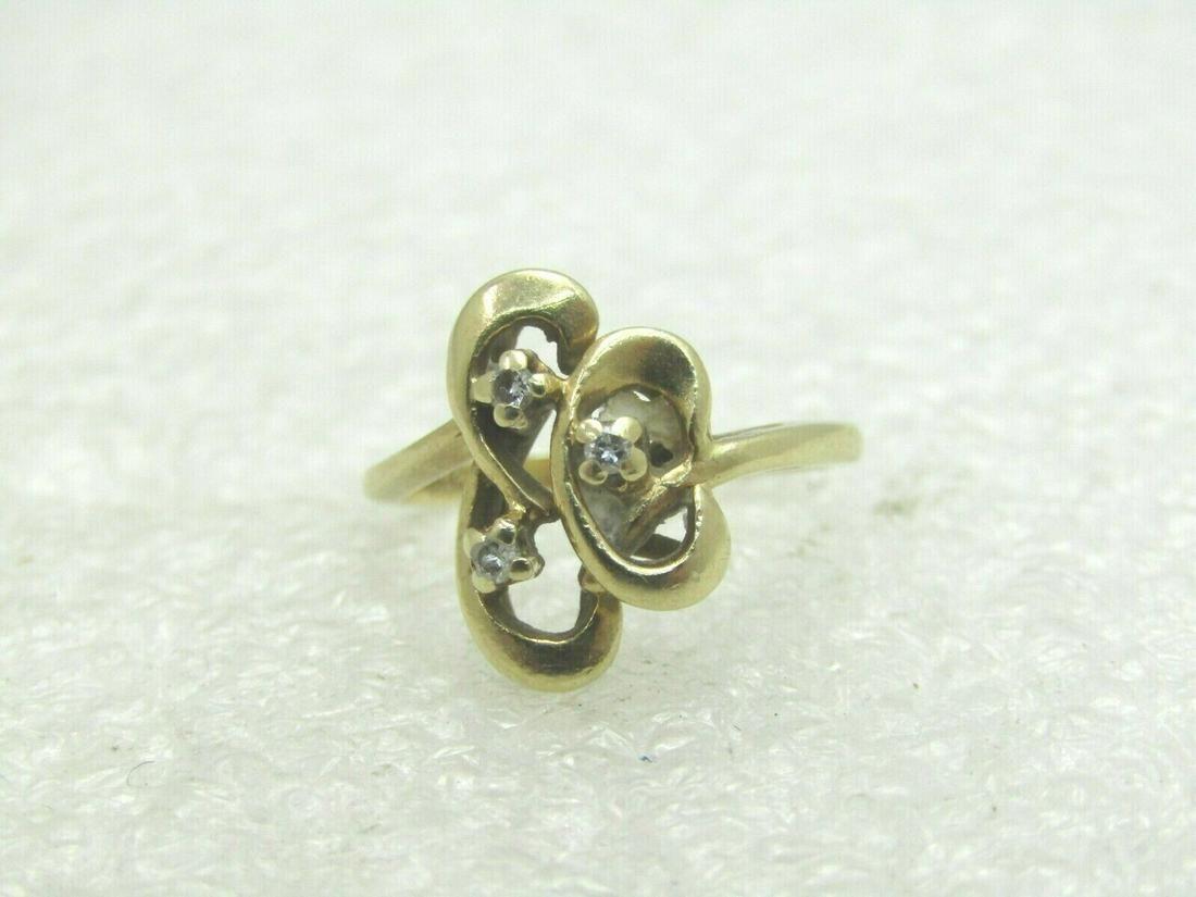 Vintage 14kt Multi Diamond Ring, Swirled & Looped