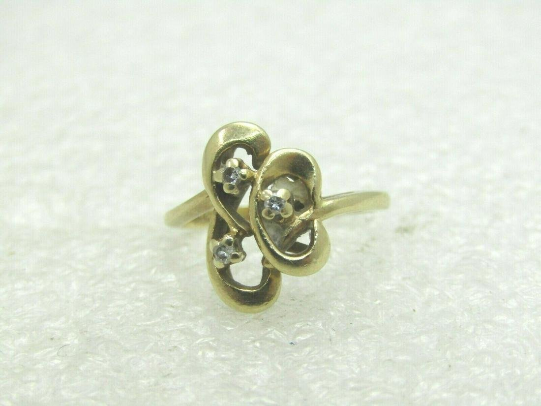 Vintage 14kt Multi Diamond Ring, Swirled & Looped