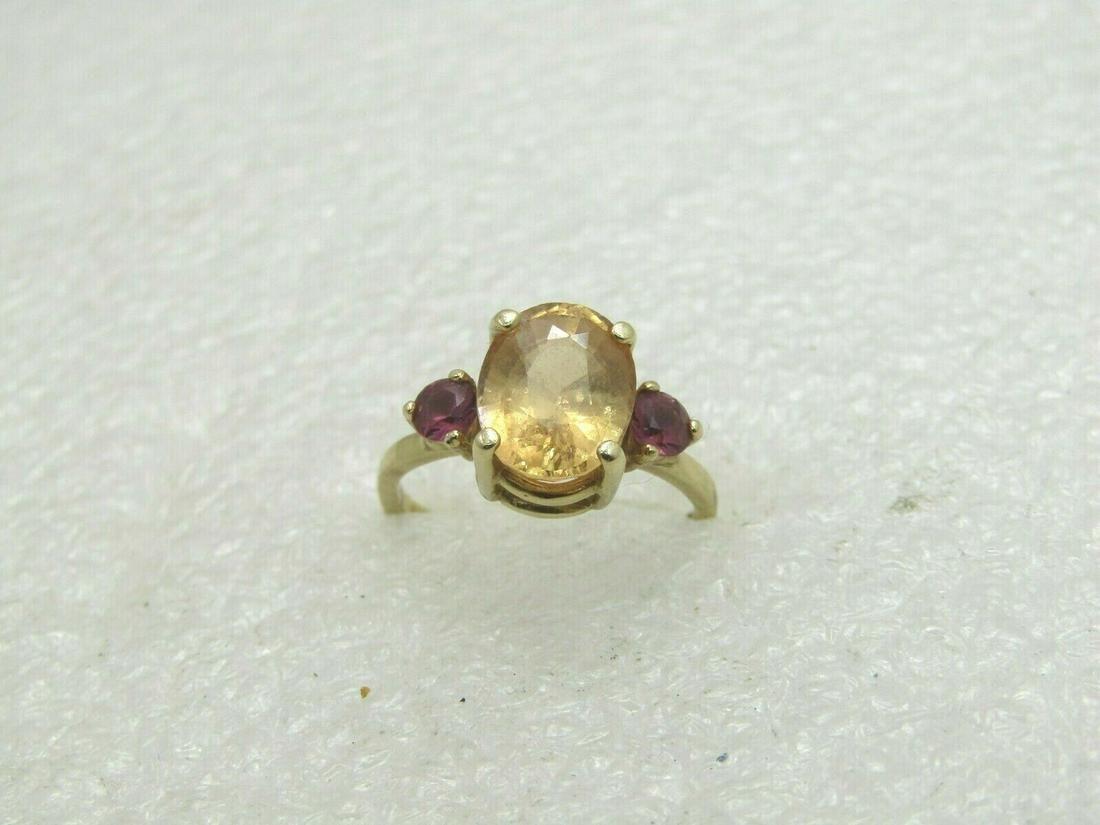 Vintage 14kt Citrine & Tourmaline Ring, Sz. 6.25,