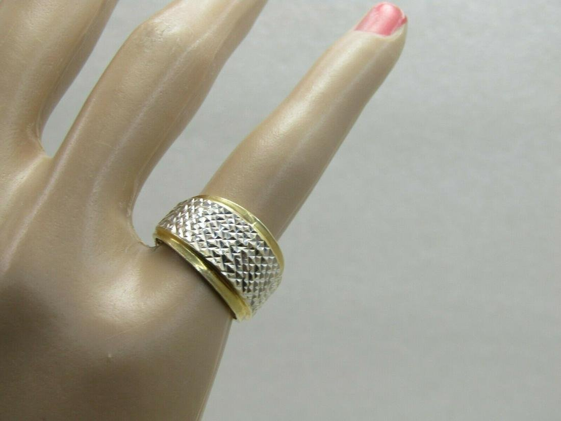 Vintage 14kt Two-Tone Diamond Cut Ring, Wedding Band,