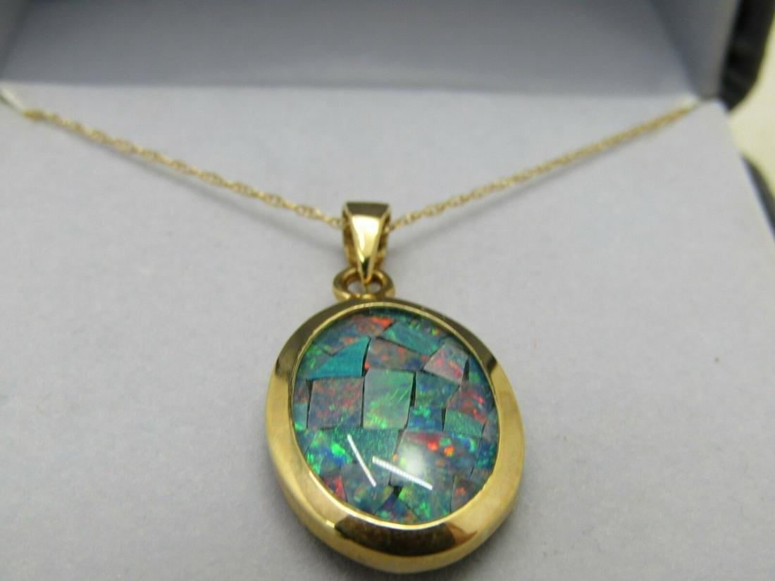 "14kt Mosaic Opal Necklace, Onyx Background, 18"", 2.72"