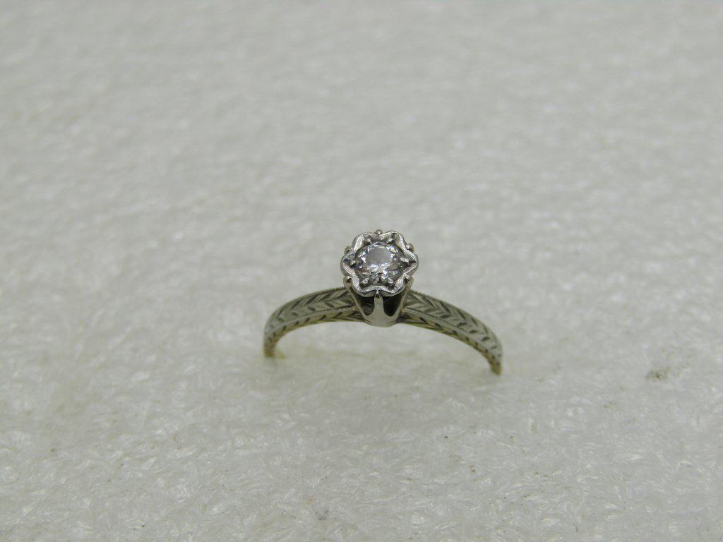 Vintage 14kt Diamond Engagement Ring, 1920's-1930's,