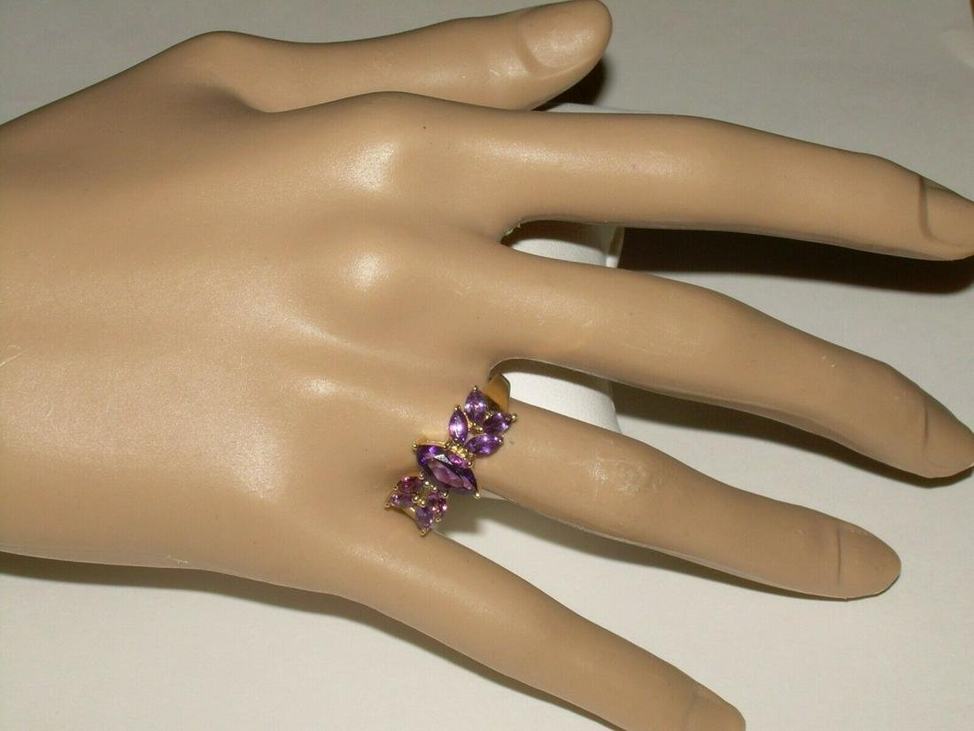 14kt Gold Multi Stone Ring, 9 Marquise Amethyst Stones,